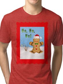 Happy Gingerbread Man in Snow Tri-blend T-Shirt