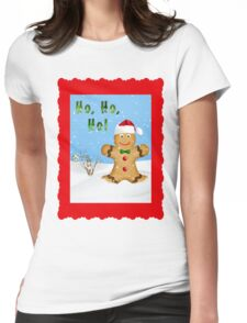 Happy Gingerbread Man in Snow Womens Fitted T-Shirt
