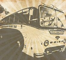 Llandudno Tour Bus Vintage Ray Effect - Grey by CDGStudios