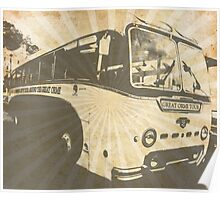 Llandudno Tour Bus Vintage Ray Effect - Grey Poster