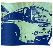 Llandudno Tour Bus Vintage Ray Effect - Blue Poster