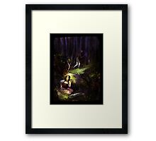 Dear in deep forest Framed Print