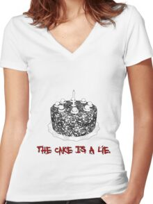 The Cake Is A Lie Women's Fitted V-Neck T-Shirt