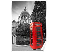 St Pauls Cathedral and the red telephone box Poster