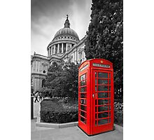 St Pauls Cathedral and the red telephone box Photographic Print