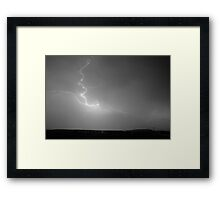 Lightning Goes Boom In The Middle of The Night BW Framed Print