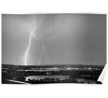 Lightning Strike Boulder Reservoir and Coot Lake BW Poster