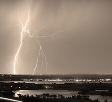Lightning Strike Boulder Reservoir and Coot Lake Sepia by Bo Insogna