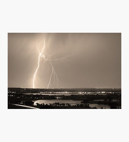 Lightning Strike Boulder Reservoir and Coot Lake Sepia Photographic Print