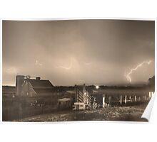 McIntosh Farm Lightning Thunderstorm View Sepia Poster