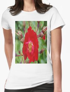 The Red Rose Womens Fitted T-Shirt