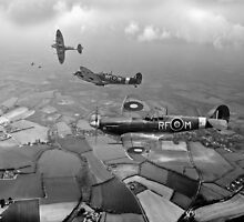 Spitfire sweep B&W version by Gary Eason + Flight Artworks