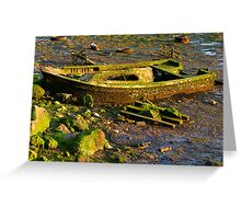 Green Boat Greeting Card