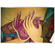 mudra. tibetan wall painting, india Poster