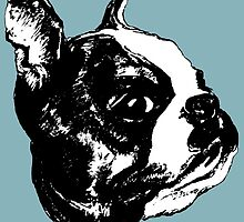 """""""Garbo"""" Boston Terrier Graphic ~ black and white by Jane Oriel"""