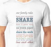 Our Family Rules (colour) Unisex T-Shirt