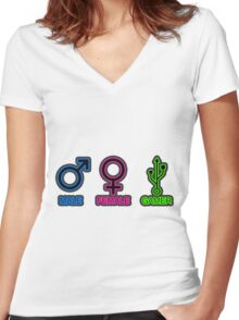 Male, Female, Gamer Women's Fitted V-Neck T-Shirt