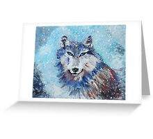 Snow Wolf - Animal Art by Valentina Miletic Greeting Card