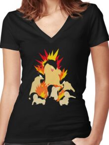 Cyndaquil - Quilava - Typhlosion Women's Fitted V-Neck T-Shirt