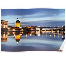 Sunset over Garonne river Poster