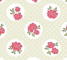 Shabby Chic Polka Dots, Roses - Beige Red Green  by sitnica