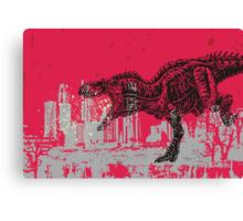 T-Rex dinosaur attacking grunge city Canvas Print