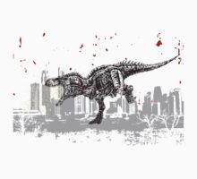 T-Rex dinosaur attacking grunge city One Piece - Short Sleeve