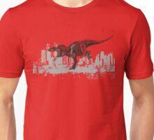 T-Rex dinosaur attacking grunge city Unisex T-Shirt