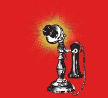 Vintage retro pop art phone telephone halftone burst One Piece - Short Sleeve