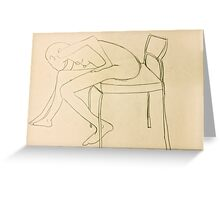 nude leans forward to touch toes Greeting Card