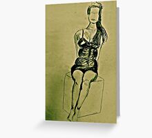 burlesque performer modelling Greeting Card