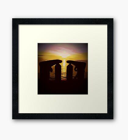 Surfers Silhouette Framed Print