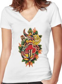 Spitshading 032 Women's Fitted V-Neck T-Shirt