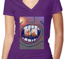 Shouting (by, Mickeys Art And Design) Women's Fitted V-Neck T-Shirt