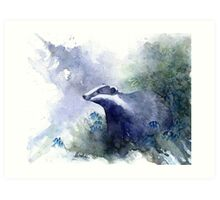 Water colour Badger Art Print