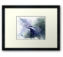 Water colour Badger Framed Print