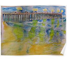 AnOther OReilly ORiginal  Painting reflections of 50 shades of ventura oils pier at sunset in water color Poster