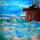 AnOther OReilly ORiginal Painting 50 Shades of surfing venturas oil pier by Timothy C O'Reilly