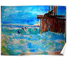 AnOther OReilly ORiginal Painting 50 Shades of surfing venturas oil pier Poster