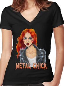 Metal Biker Chick Redhead Women's Fitted V-Neck T-Shirt