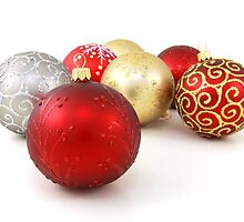 Christmas Glitter Shiny Ornaments Gold Red by sitnica