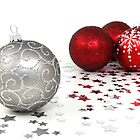 Shiny Christmas Glittered Ornaments - Silver Red by sitnica