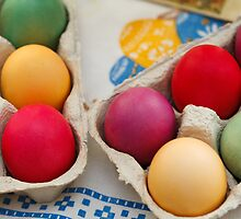 Painted Easter Eggs - Green Yellow Purple by sitnica