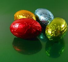 Foil Wrapped Easter Eggs - Yellow Blue Green by sitnica