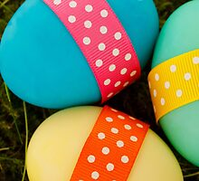 Painted Easter Eggs Ribbons Dots Blue Green Yellow by sitnica