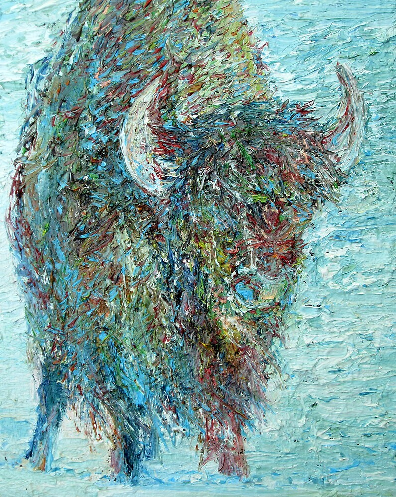 BISON IN THE SNOW by lautir
