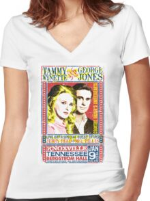 Tammy Wynette and George Jones. Concert Poster. Knoxville. Nashville. TN. Women's Fitted V-Neck T-Shirt