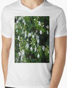 White And Green Mens V-Neck T-Shirt
