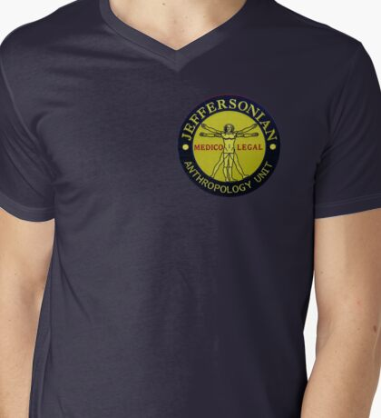 Jeffersonian logo-Bones Mens V-Neck T-Shirt