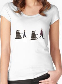 Doctor Who 12th Doctor, Clara and Daleks on Abbey Road Women's Fitted Scoop T-Shirt